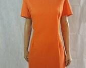 60s/70s Vintage Orange Textured Mod Scooter/Shift Dress.