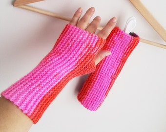 Pink Gloves Personalized Fingerless Pink Fingerless Gloves Armwarmers Hand Knit Chic Winter Accessories Winter Fashion