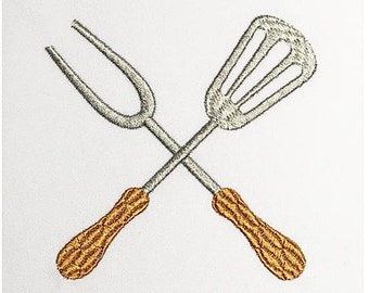 Grill Utensils Filled Embroidery Design Apron T-shirt Decor 4x4, 5x7 and 6x10 sizes DE027
