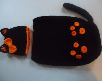 Black Kitty Cat Hat with Bow & Cocoon Snuggle Sack Set Baby 0-3 Month Size Handmade Crochet Photo Prop