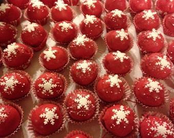 Christmas snowflakes,candy cane  2 dozen cake pops or cake balls