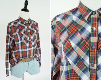 SALE Vintage 1970's Blue Red Plaid Ruffle Bust Blouse - Tartan Button Up Long Sleeve Top - Casual Cotton Plaid Shirt - Ladies Size Medium