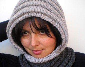 Bicolor Grey Wave Chunky Knit Hood  Soft Mixed Wool Woman Hooded Scarf Cowl Fall Winter Accesories NEW