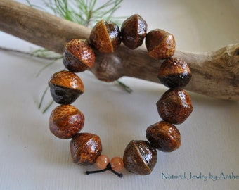 Natural jewelry - unique bracelet - real acorn - organic - zen - yoga accessory