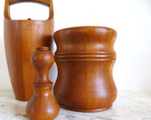 Nissen Staved Teak Ice Bucket Danish Modern