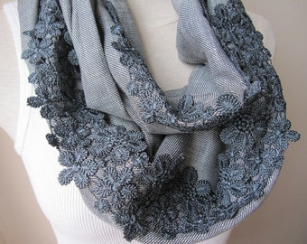 Lace trim womens scarves-Gray grey ivory linen infinity scarf -Daisy lace French guipure trim - women's office fashion-women's scarves