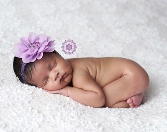 Purple Headband, Baby Headband, Infant Headband- Lilac Chiffon Rhinestone Headband with Glitter Purple Elastic Headband Photography Prop