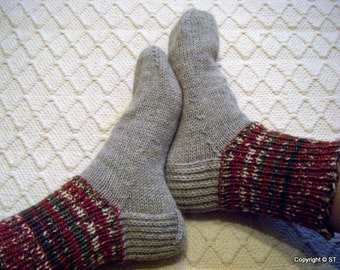 Big size mens BOOT SOCKS warm gray with browns greens Hand knitted Warm Durable Cozy wool Gift idea Handmade in  FINLAND