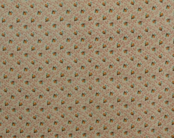 Vintage Cotton Fabric, Cotton Quilting Fabric, Tiny Print Fabric, Rose Buds, Cotton Floral Fabric Calico Fabric - 1 1/2 Yard - CFL1626