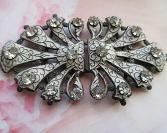 Antique Enameled Paste Buckle, Antique Cloak Closure, Paste Jewelry, Victorian Fashion,  Enameled Jewelry, Belt Buckle, Estate Jewelry