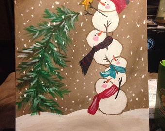 """Personalized """"Towering Snowmen"""" Acrylic Painting - Customize with names"""