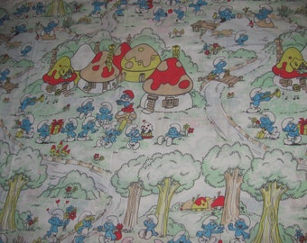 Vintage Esmond Peyo Smurfs Twin Flat Sheet, Pillowcase  - Smurfette, Papa Smurf, Smurf Houses, Swimming, Fishing - Retro Fabric