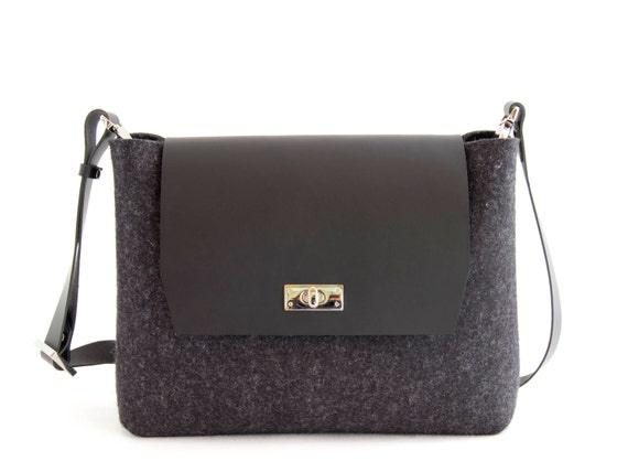 Felt and leather mini FLAP BAG, leather strap, charcoal, black, crossbody bag, 100% wool felt, made in Italy