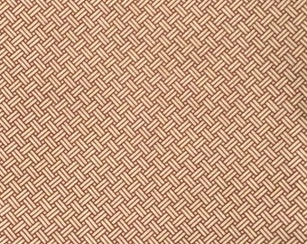 Cotton Fabric Basket Weave Pattern Terra Cotta and White 1 Yard