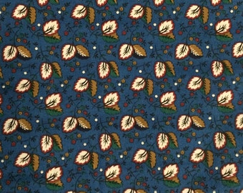 Blue Cotton Fabric / Blue Floral Fabric / Cotton Fabric / Fall Fabric / Leaves Fabric