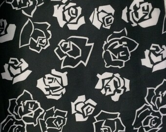 Black and White Floral Polyester Fabric 3 and 1/2 Yards