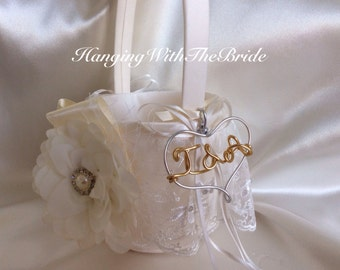 Wedding flower girl basket, initial flower girl basket