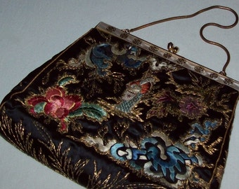 Evening Bag, Purse, Cocktails, Chinese Silk Embroidery, Kwan Yin, Vintage