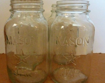 vintage clear set of 4 mason jars with a star on front
