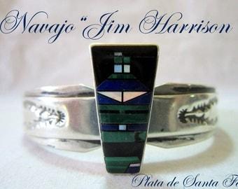 "Early Navajo ""Jim Harrison"" Canyon de Chelly Mosaic of Lapis/Malachite 925 Cuff"