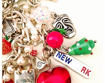 Love new york theatre tiffany liberty team usa keychain purse clip