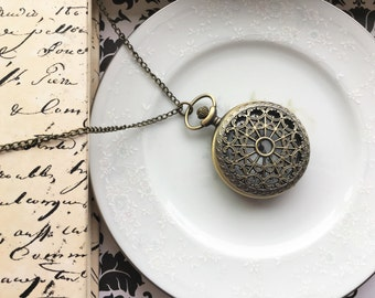 Necklace Pocketwatch, Accessories, Steampunk Inspired Skeleton, Vintage, Victorian, Romantic Inspired, Pocket Watch with Fob or Necklace