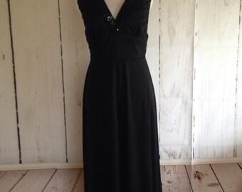 Vintage 70s Jack Hartley Black Maxi Dress