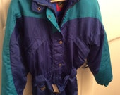 Vintage Sunice Ski Suit One Piece Retro 80s Canada Activewear Cross Country Hiking Tobogganing Snowboarding Skiing
