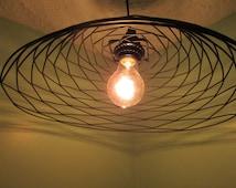 Minimal Modern pendant lighting, patterned hanging light, repurpsed wire frame