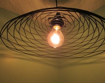 Minimal Modern pendant lighting, patterned hanging light, repurpsed wire frame