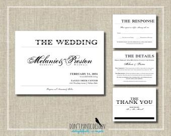 Elegant Printable Wedding Invitation Set - Black and White Handwritten - Custom Colors - WL2