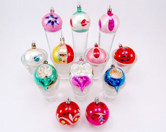 Vintage Glass Poland Christmas Holiday Ornaments, Boxed Set Of Twelve, Indented, Hand Painted