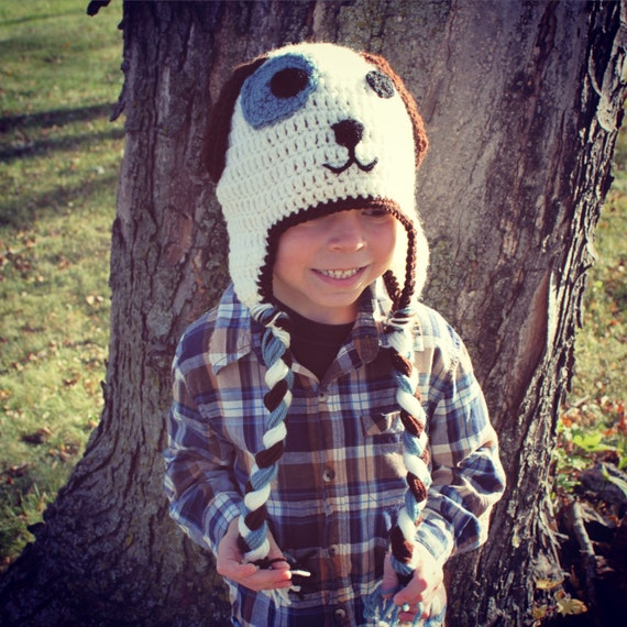 Brown, Blue and White Puppy Dog Child, Newborn, Baby Earflap Hat, Made to Order