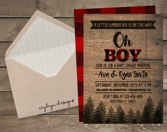 A Little Lumberjack is on the way! |Baby Boy on the way |  Rustic Baby Shower Invitation | Printable File