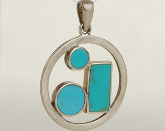 Modernist Sterling and Turquoise Inlaid Pendant