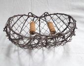 Vintage French miniature Wire Fishing shellfish basket v549