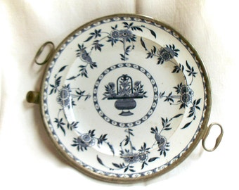 French Antique Floral Faience & Pewter Hot Plate (C051)