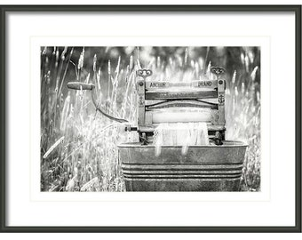 Laundry Room Decor, Antique Wringer Washer, Clothes Wringer, Laundry Room Art,  Fine Art Photography, Black and White, Americana Dec