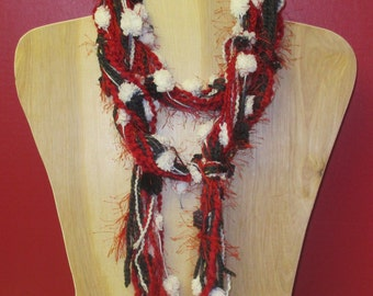 Funky Knotted Fuzzy Scarf Necklace