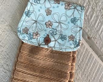 Hanging Kitchen Towel  - Modern Flowers Blue Beige  Terry Cloth Towel Button Closure
