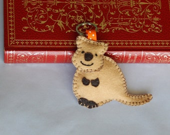 Quokka Keychain, Quokka Felt Key ring, Bag Charm, Zipper Pull, Stocking Stuffer