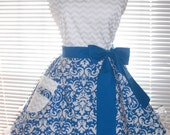 Sexy Retro Inspired Apron Blue and White Damask Full Circular Skirt - Ready to Ship