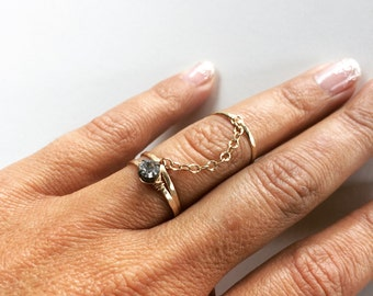 Midi Ring Set - Dainty Chain Ring Set - Gold Chain Rings - Stacking Rings - Trio Rings - Crystal Ring