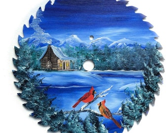Hand Painted Saw Blade Mountain Winter Scenery  Log Cabin w Cardinals