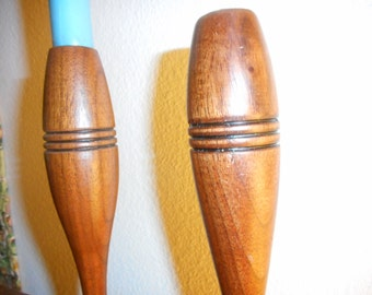 Candlestick Holders, Vintage, Mid-Century, Modern, Wood, Two, Minimal, Carved, Home Decor