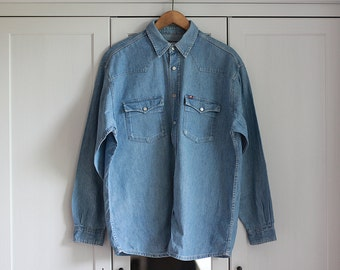 Vintage Mustang Jeans Shirt Blue Unisex Long Sleeve Men Women Oversize