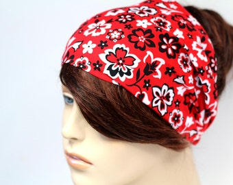 Red Hippie Floral Print Headband Womens Headband Fabric Headband Bandana Headband Head Wrap Hair Accessory Womens Gift for Her Gift Ideas