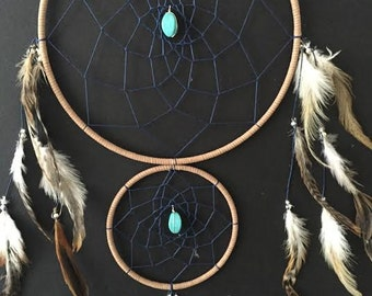Dream Catcher with Double Rings brown and navy blue with turquoise and feathers, wall decor! boho decor, boho home, boho dreamcatcher!