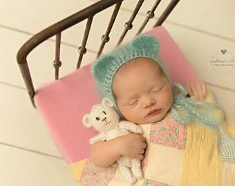 Newborn Bonnet, Mohair Bonnet, Bear Ears Hat, Newborn Wrap, Lace Blanket, Lace Mohair Wrap in Mint Green, RTS, more colors