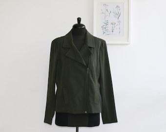 SALE / Olive green Women  jacket, Long sleeve elegant Jacket, front pockets jacket/ Winter fashion
